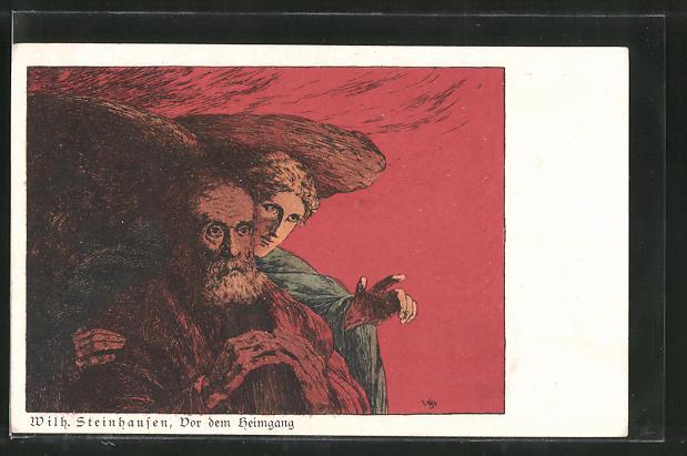 Künstler-AK Wilhelm Steinhausen: Vor dem Heimgang, Engel und alter Mann