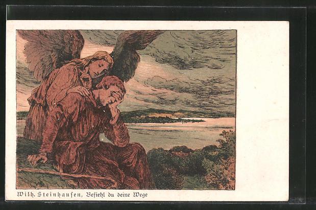 Künstler-AK Wilhelm Steinhausen: Befiehl du deine Wege, Engel und Trauernder