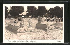 AK Laboe, Strandburgen, Buddha-Sandplastik