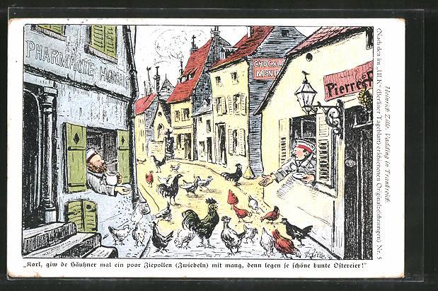Künstler-AK Heinrich Zille: Korl, giw de Häuhner mal ein poor Ziepollen mit mang, denn legen se schöne bunte Ostereier!