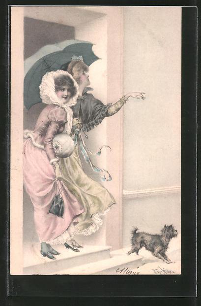 Kunstler Ak Wichera Zwei Frauen Mit Schirm Und Hund Wagen Bei Regen