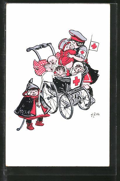 Künstler-AK Heinrich Zille: Kleinkinder im Kinderwagen mit Rotem Kreuz und kleiner Soldat
