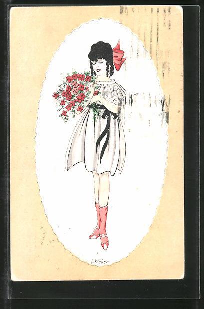 Künstler-AK E. Weber: Junge Frau im kurzen Kleid und Schleife hält einen Blumenstrauss