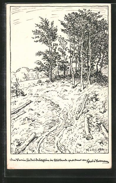 Künstler-AK Hans von Volkmann: Landschaft am Waldesrand