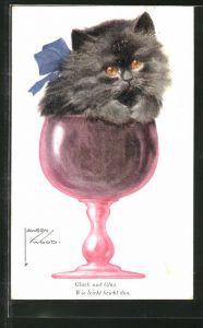 Künstler-AK Lawson Wood: Kätzchen im Weinglas