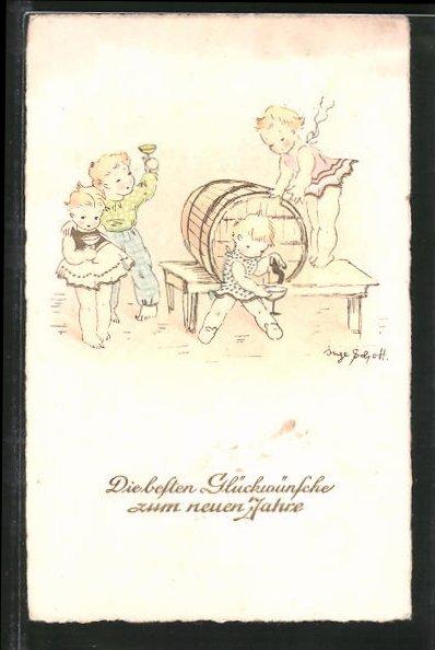 Künstler-AK Inge Schott: Glückwünsche zum neuen Jahr, Kinder naschen vom Wein