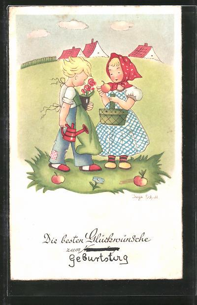 Künstler-AK Inge Schott: Glückwünsche zum Geburtstag, Kleines Paar mit Äpfeln und Blumen