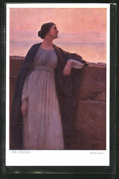 Künstler-AK Josef Straka: Sehnsucht, Dame an der See