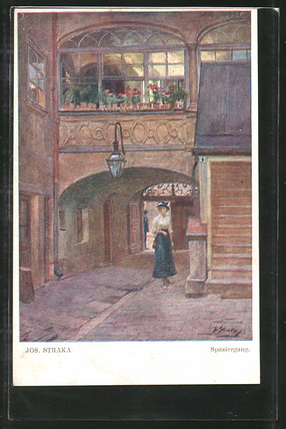Künstler-AK Josef Straka: Spaziergang, Junge Dame in Gasse