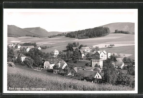 AK Bad Liebwerda / Lazne Libverda, Ortspanorama vom Berg aus gesehen