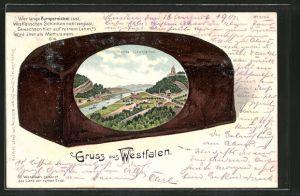 Passepartout-Lithographie Porta Westfalica, Orts-Panorama auf einem Pumpernickel