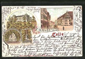 Lithographie Celle, Schloss, Karolinen-Mathilden-Denkmal, Markt & Rathaus