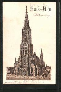 Lithographie Ulm, Blick zum Münster