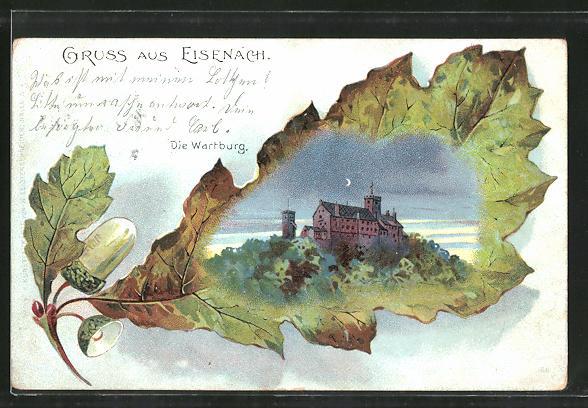 Passepartout-Lithographie Eisenach, Blick auf die Wartburg bei Nacht