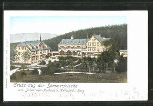 Goldfenster-AK Clausthal, Hotel Johannesser-Kurhaus aus der Vogelschau