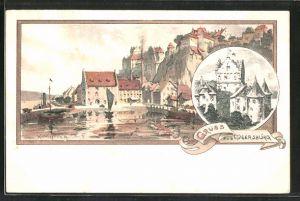 Künstler-AK Karl Mutter: Meersburg, Partie im Hafen