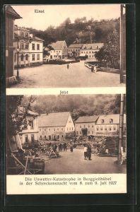AK Berggiesshübel, Zerstörung der Brücke durch Unwetter vom 9.7.1927, Ansicht vor der Katastrophe