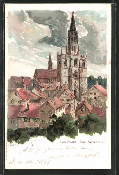 Künstler-AK Carl Biese: Constanz, Teilansicht mit Blick auf das Münster