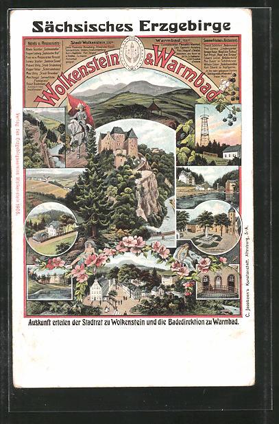 AK Warmbad-Wolkenstein, Ansichten der Ortschaft im Sächsischen Erzgebirge