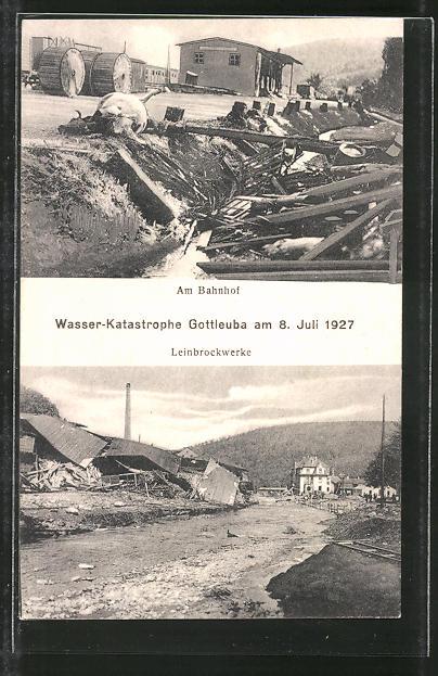 AK Gottleuba, Hochwasser am 8. Juli 1927, Zerstörungen an Bahnhof und Leinbrockwerken