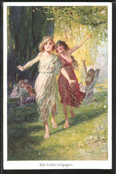 Künstler-AK Adolf (Jodolfi): Halbnackte Frauen rennen der Liebe entgegen