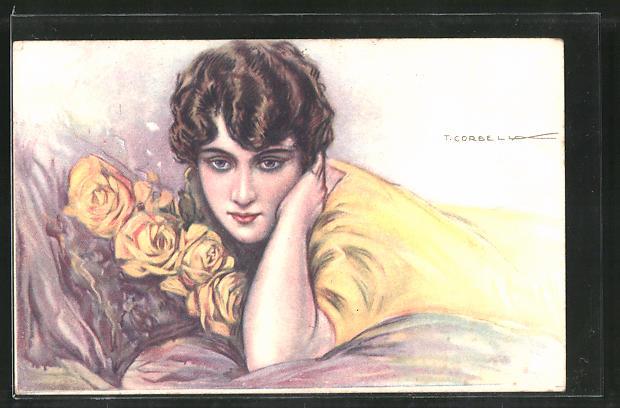 Künstler-AK Tito Corbella: Junge Frau im gelben Kleid mit Rosen