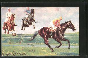 Künstler-AK Ermenegildo Carlo Donadini: Pferderennen, Wassergraben