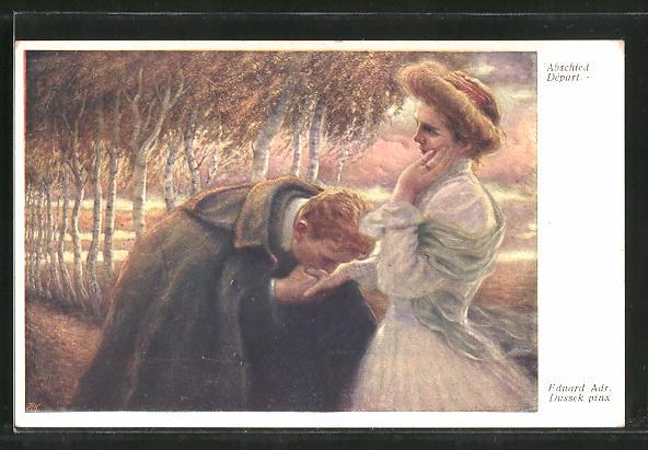 Künstler-AK Eduard Adrian Dussek: Abschied, Junges Paar