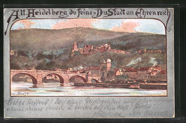 Künstler Heidelberg künstler lithographie carl biese alt heidelberg du feine du stadt