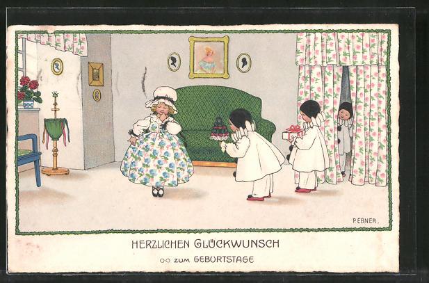 Künstler-AK Pauli Ebner: Glückwunsch zum Geburtstage, Kleine Harlekine und Mädchen, Pierrots