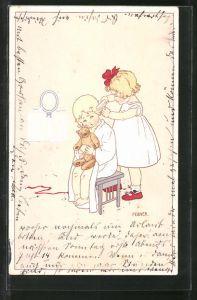 Künstler-AK Pauli Ebner: Mädchen bürstet ihrer Schwester die Haare