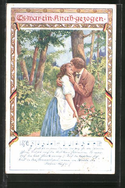 Künstler-AK Ezel: Verliebtes Paar küsst sich im Wald