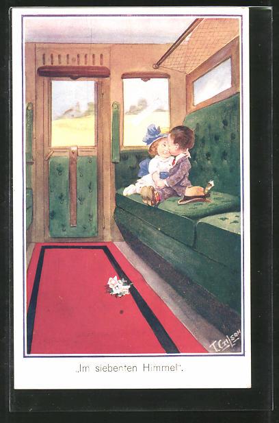 Künstler-AK T. Gilson: Im siebenten Himmel, Kleines Paar in Zugkabine