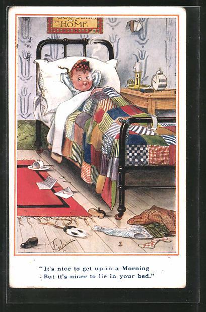 Künstler-AK T. Gilson: It's nice to get up in a Morning..., Kleiner Schotte im Bett