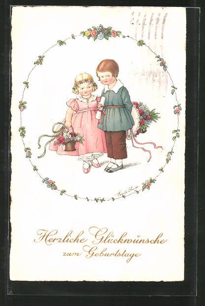 Künstler-AK Pauli Ebner: Glückwünsche zum Geburtstage, Kleine Gratulanten