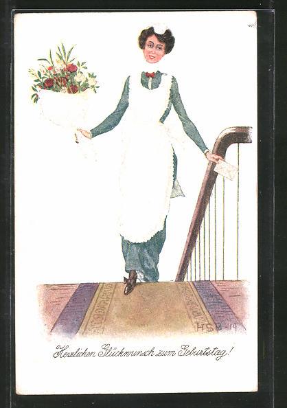 Künstler-AK H.S.B.: Dienstmädchen bringt Blumenstrauss und Brief