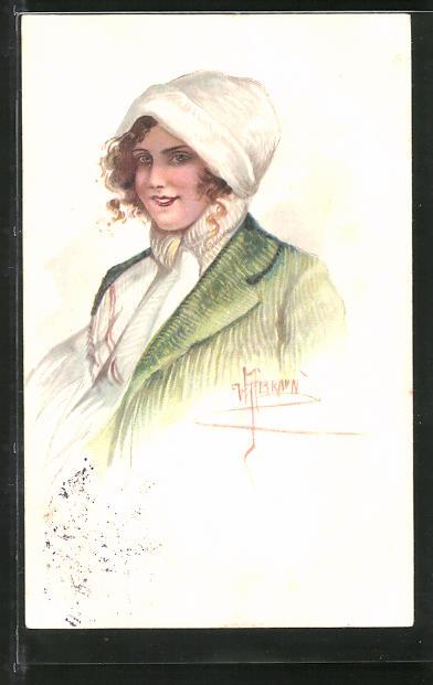 Künstler-AK W. Braun: Porträt einer jungen Frau mit Mütze