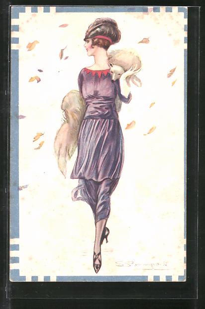 Künstler-AK Sergio Bompard: Dame im Kleid mit Pelzboa und Hut