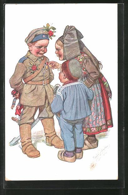 Künstler-AK Emil Beithan: Soldat trifft Mutter und Kind in elsässischer Tracht