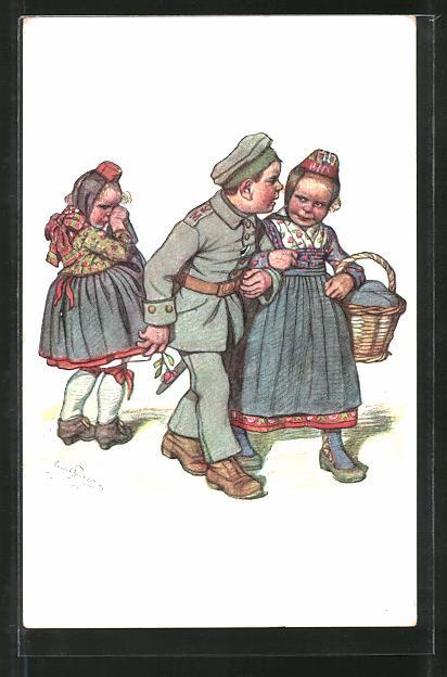 Künstler-AK Emil Beithan: Liebesleid eines hessischen Mädchens um den Soldaten