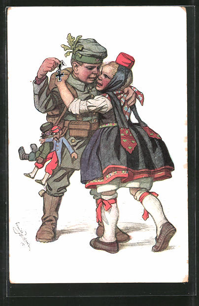 Künstler-AK Emil Beithan: Wiedersehen des hessischen Mädchens mit dem Soldaten