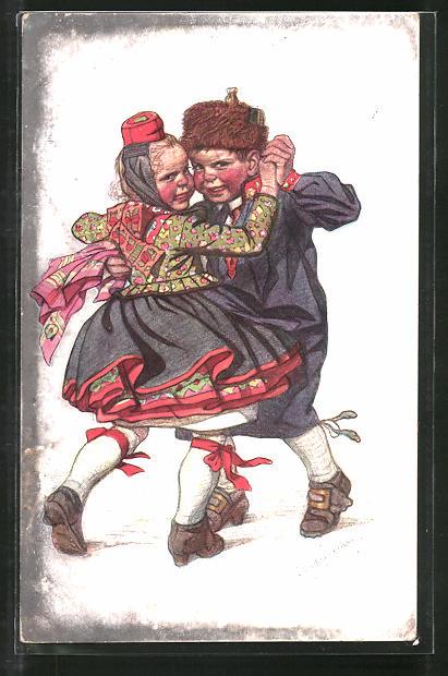 Künstler-AK Emil Beithan: Hessisches Kinderpaar beim wilden Tanz