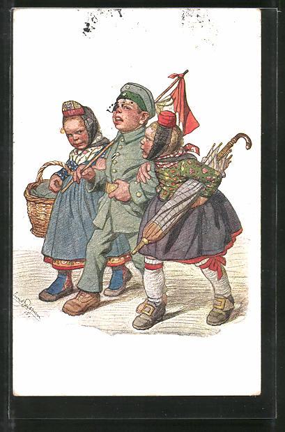 Künstler-AK Emil Beithan: Soldat mit zwei hessischen Mädchen im Arm