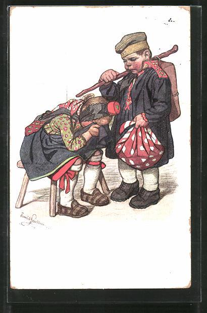 Künstler-AK Emil Beithan: Abschiedsszene mit Soldat und hessischem Mädchen