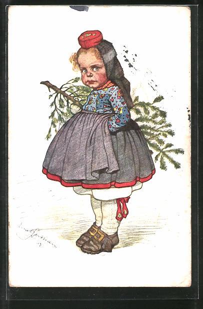 Künstler-AK Emil Beithan: Hessisches Mädchen mit Tannenbaum unterm Arm