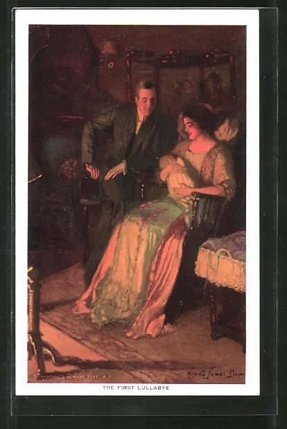 Künstler-AK Alfred James Dewey: The first Lullabye, Das erste Schlaflied