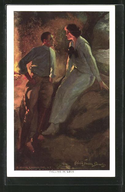 Künstler-AK Alfred James Dewey: Falling in Live, Liebespaar am Lagerfeuer