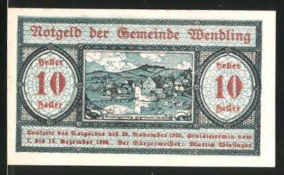 Notgeld Wendling 1920, 10 Heller, Ortsansicht