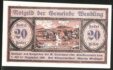 Notgeld Wendling 1920, 20 Heller, Ortsansicht