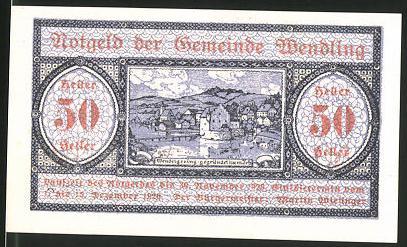 Notgeld Wendling 1920, 50 Heller, Ortsansicht